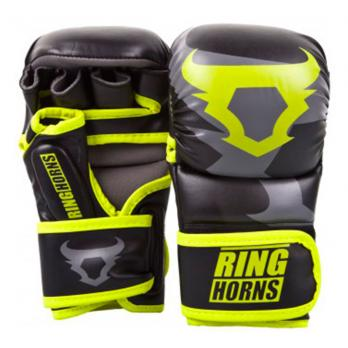 Luvas de MMA Ringhorns Charger Sparring preto Neo Yellow By Venum